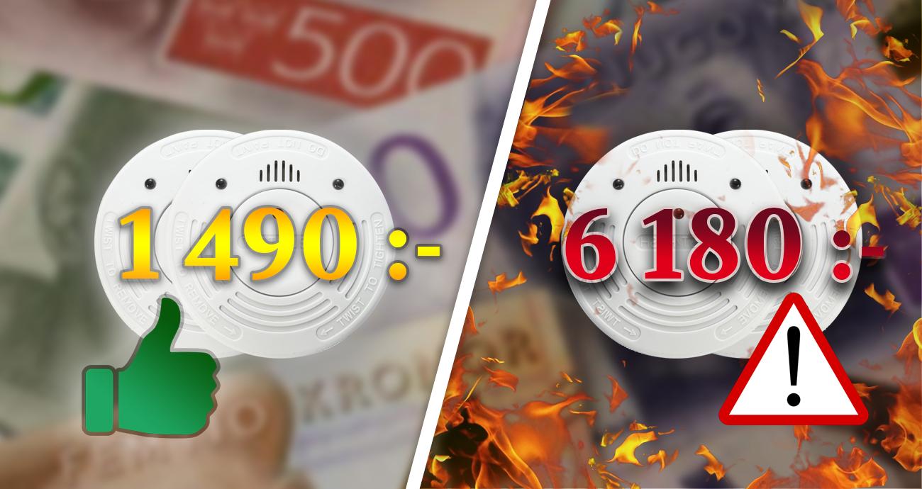 Varning för dyra tillägg: 6180 kr för två brandvarnare!